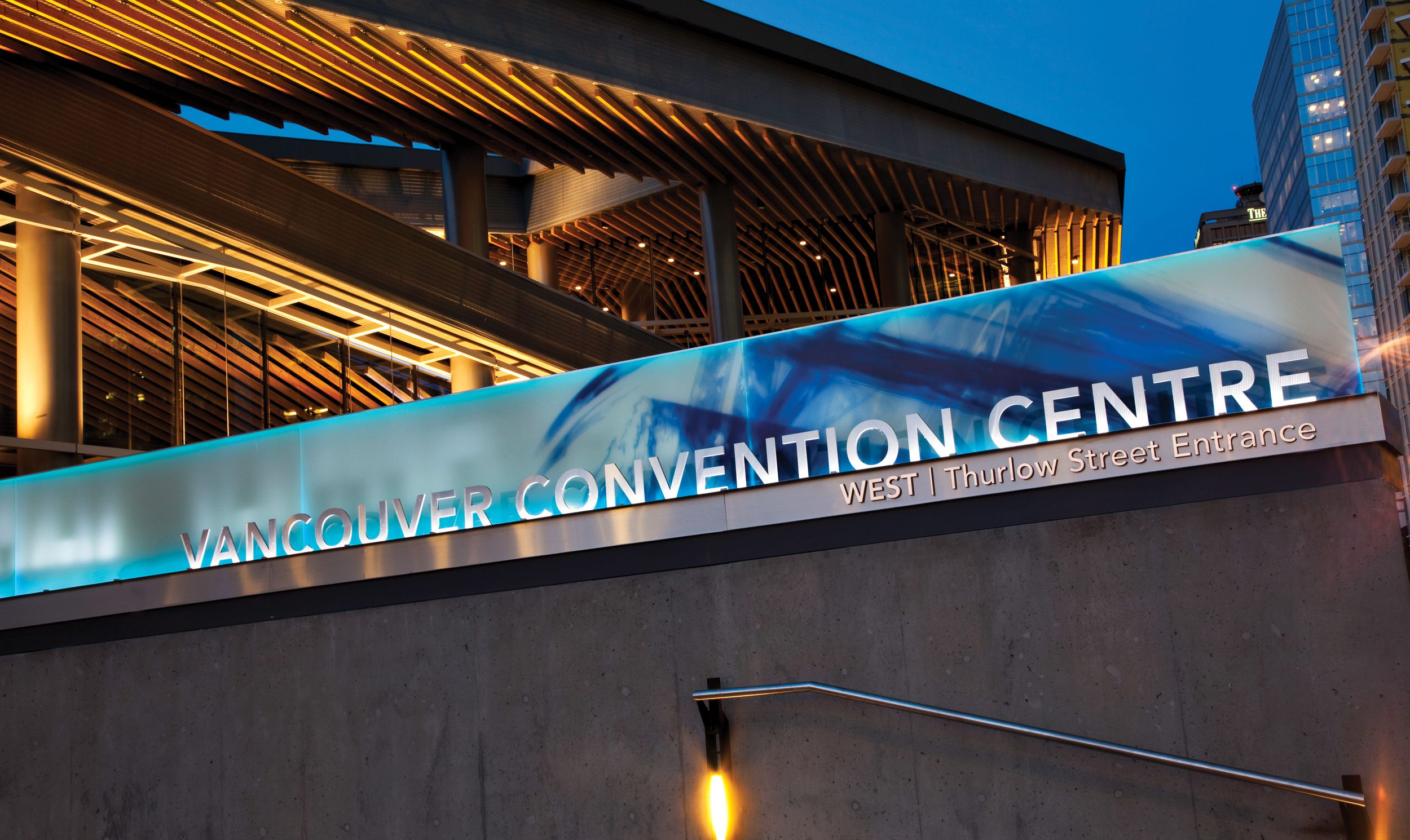 Vancouver convention centre entrance signage